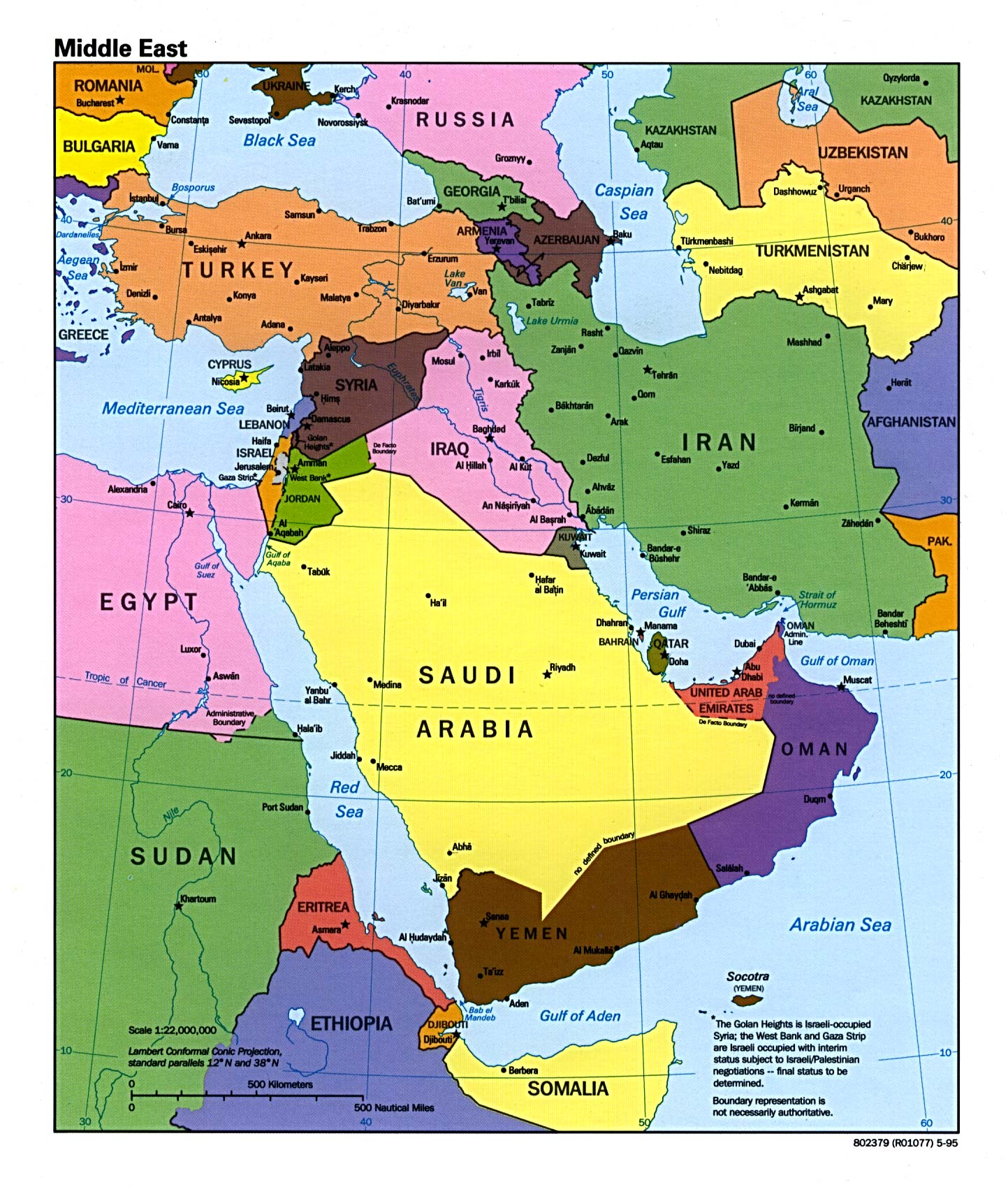 Map of Middle East Countries Involved in the War of Gog and Magog